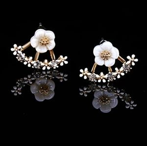 White Star Floral Cuff Link Drop Earrings Dangle